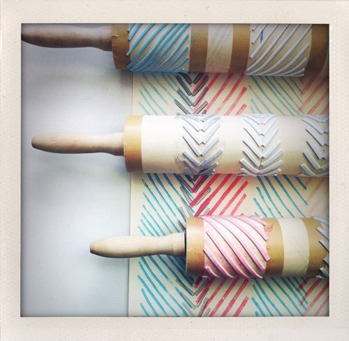 stamping - with rolling pins >> Fun!: Pin Geometric, Idea, Craft, Wrapping Paper, Geometric Stamps, Rolling Pins, Pin Stamps