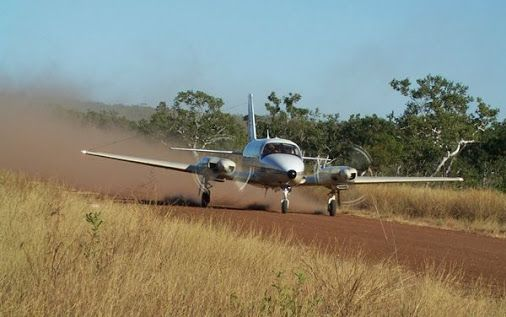 The Piper Chieftain in the outback.