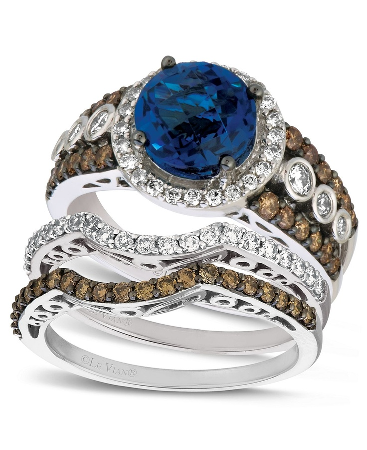 Le Vian 14k White Gold Diamond and Blue Topaz Stackable Bridal Set Macy s
