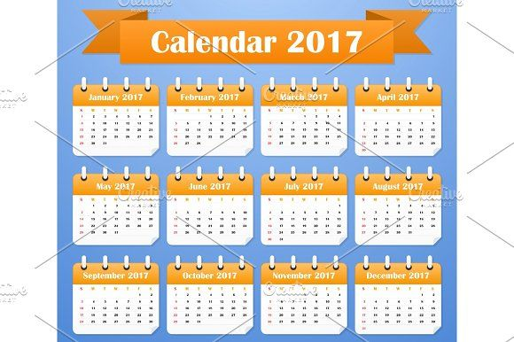 American Calendar for 2017. Week starts on Sunday by Vector Shop on @creativemarket
