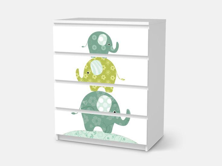 Designfolie Elephants für dein Malm 4 Schubladen