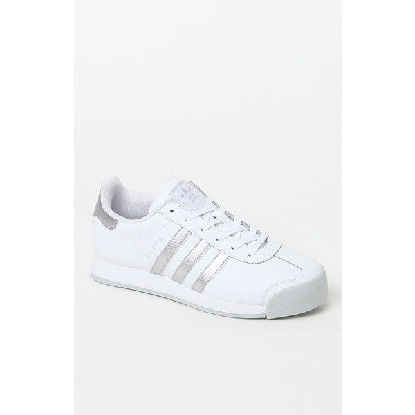 adidas Women's White Silver Samoa Sneakers ❤ liked on Polyvore featuring shoes, sneakers, white trainers, lace up sneakers, lace up shoes, adidas trainers and white low tops