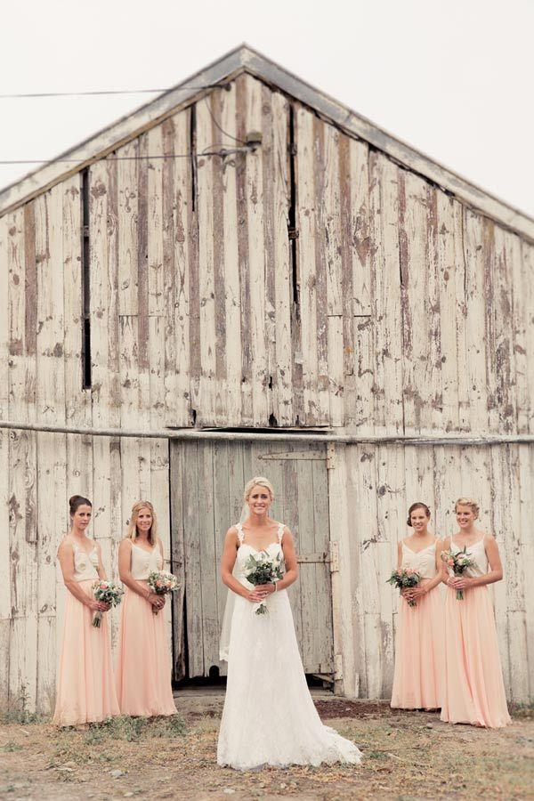 ViCTOR Bridesmaid - Style ESTHER Skirt. Full length gathered waist peach chiffon skirt