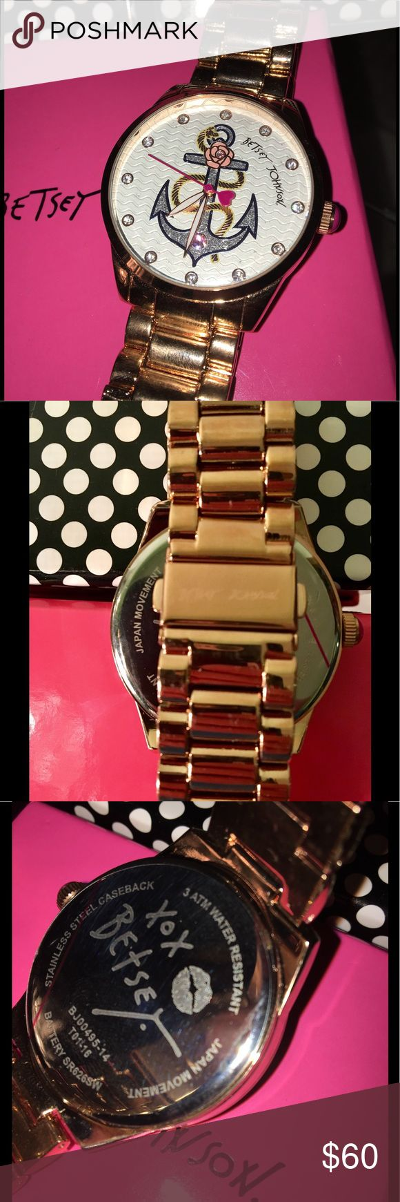 Betsey Johnson Anchor Watch w Box Beautiful Betsey Johnson rose-toned anchor watch with rhinestones. Clear sticker still on back. Box included without insert. Worn once. Betsey Johnson Accessories Watches