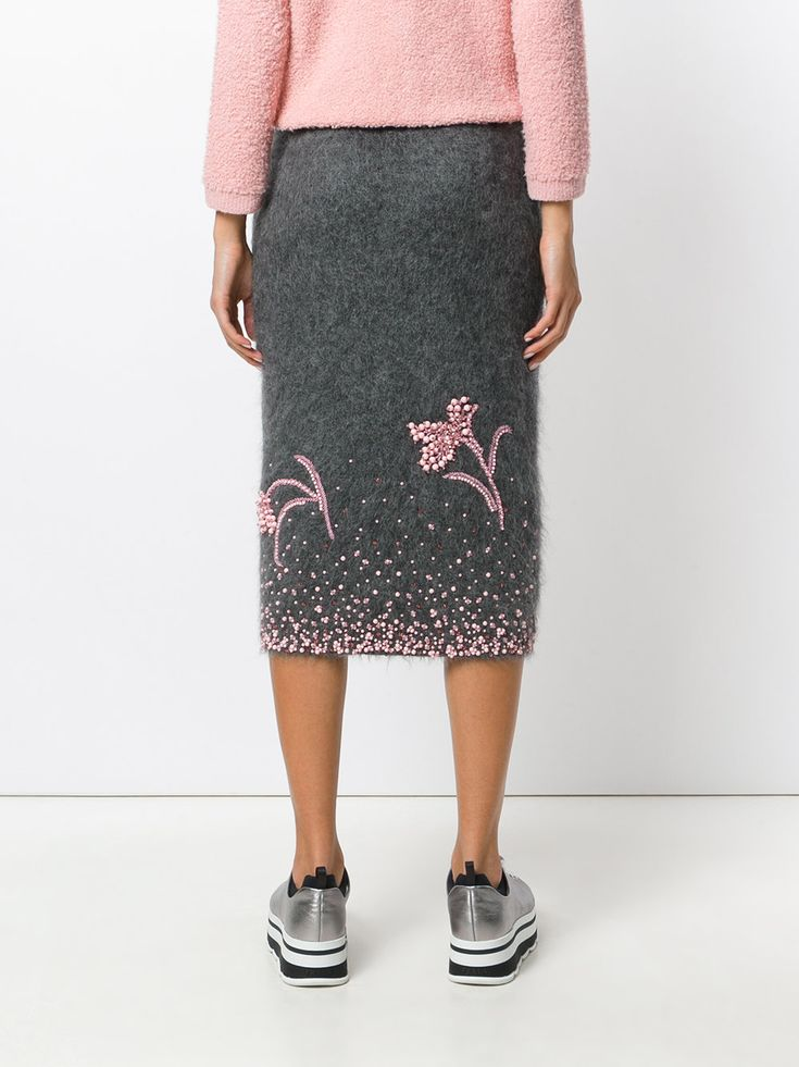 Prada embroidered knitted skirt