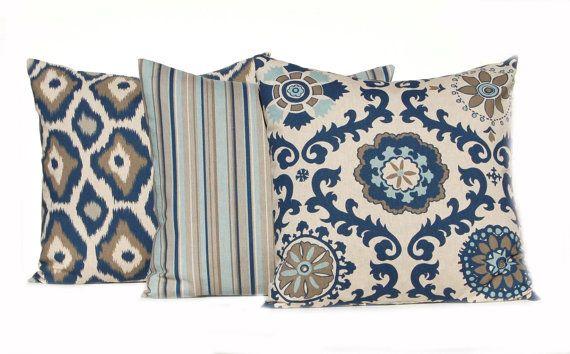 Throw Pillow Covers 18 x 18 Navy Taupe Aqua on Linen Cushion Sofa Pillows Rosa by Premier Prints