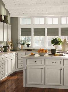 A gray kitchen ~ Benjamin Moore Copley Gray walls, November Rain cabinets, Cloud White trim – Home Decor