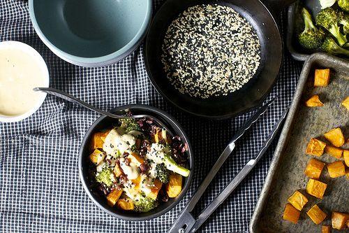 Sweet potato and broccoli with a miso-sesame-tahini dressing!