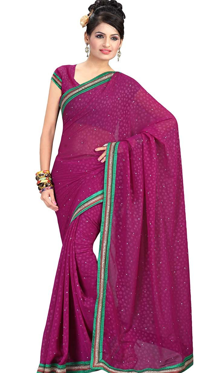 Get Beautiful Latest Rani Faux #ChiffonCasualSaree .. http://bit.ly/1Gd89Gn