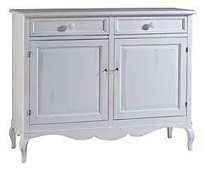 Credenza a 2 ante e 2 cassetti in legno bianca - 145x115x50 cm