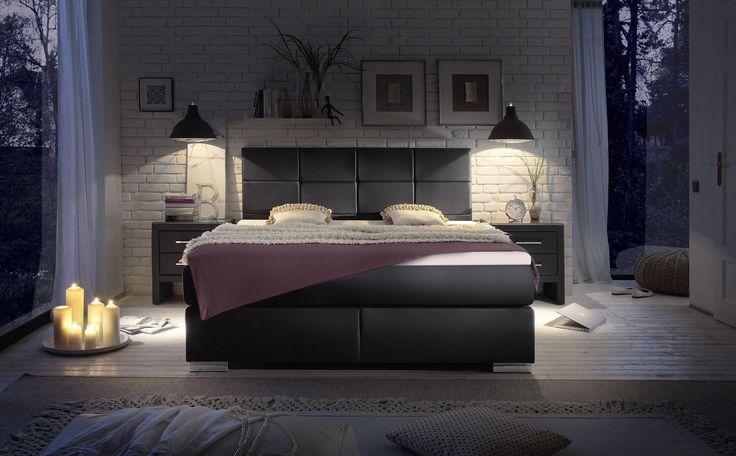 dieses schwarze kunstleder boxspringbett ist unser allrounder bei diesem bett k nnen sie. Black Bedroom Furniture Sets. Home Design Ideas