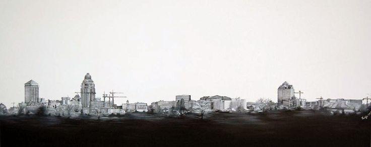 Skyline Monochrome: Sandton - Painting by Tanja Harbottle | StateoftheArt.co.za