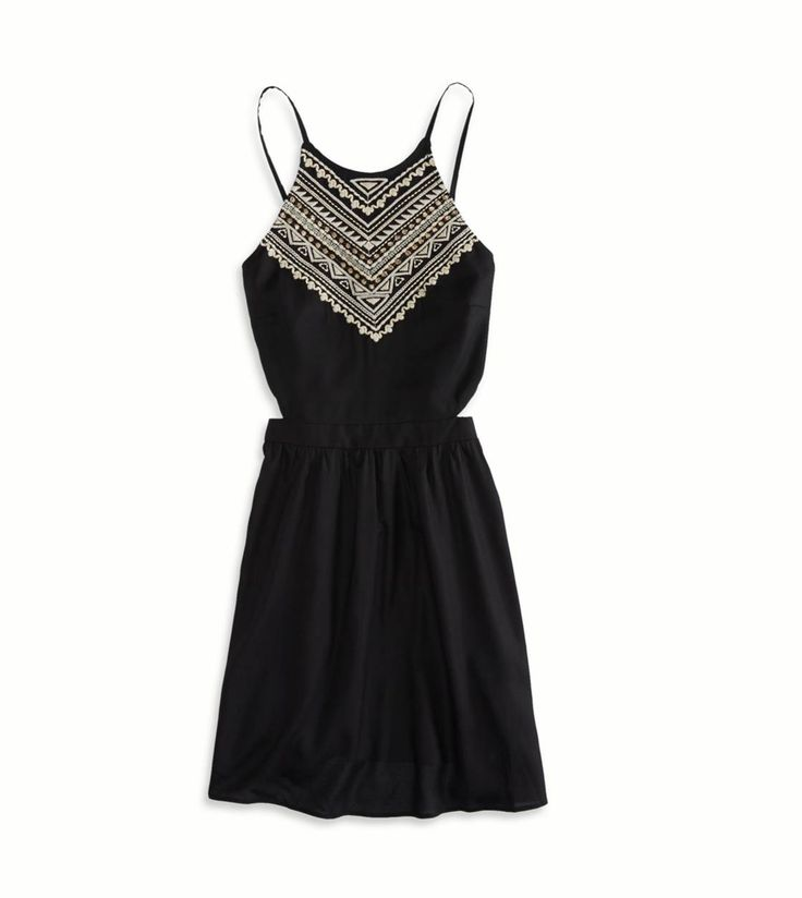 Black AE Embroidered Halter Sundress