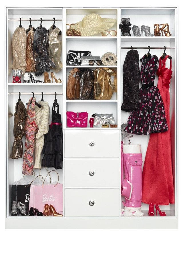 """Barbie® Wardrobe ~ Barbie® doll's fabulous ensembles deserve an equally fabulous space! This freestanding Barbie Look™ wardrobe offers ample storage for clothing and accessories featuring 3  compartments with hanging rods, 3 functional drawers and shelving. Includes insertable wallpaper options to customize the interior and multiple hangers.   Measures approx. 11.9""""W x 15.7""""H x 3.1""""D."""