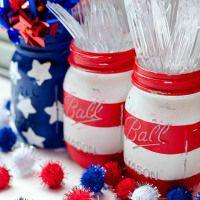 Red White Blue Stars Stripes American Flag Mason Jar | DIY July 4