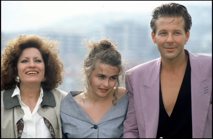 Andrea Ferreol, Helena Bonham Carter, and Mickey Rourke at the 'Francesco' Photocall - 42nd Cannes Film Festival 1989