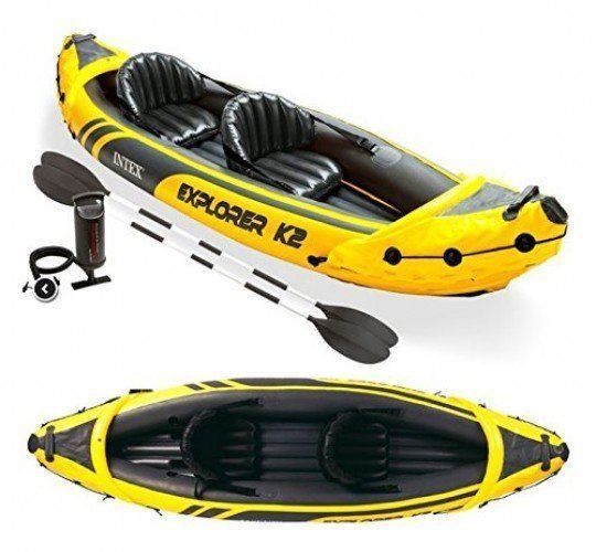 Inflatable Canoe Kayak 2 Person Boat Life Jacket Paddles Accessories Clothes Set