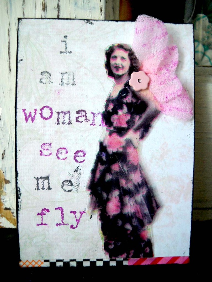 #ATC (artist trading card) #woman #collage (vintage image was printed on acetate, wings are a fabric flower that was colored and stamped, stamped wording) title: see me fly