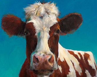 Cow Painting Frances Paper Print of an Original by CariHumphry