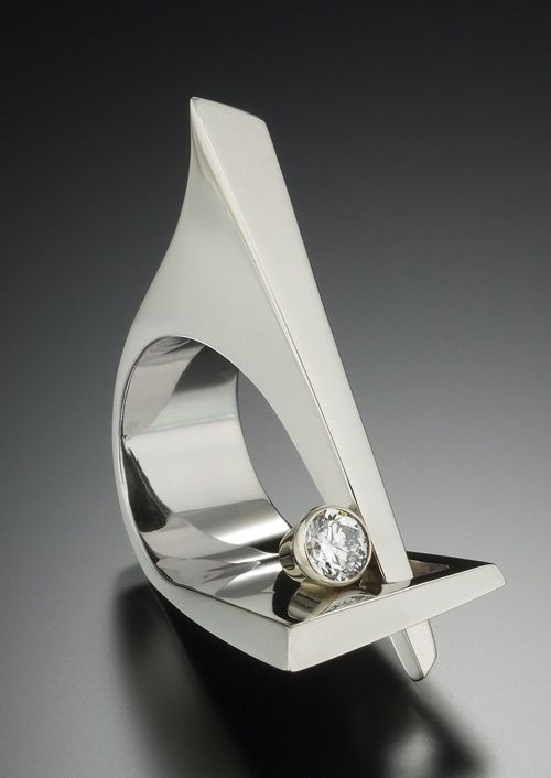 "Ring | Adam Neeley.  ""The Sculpture"".  14kt white gold with diamond.  Also available in 18k yellow gold."