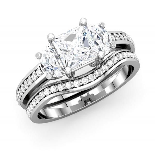 Complete Your Wedding Day by Presenting Her with a Magnificently Designed Bridal Ring Set - OUR PRICE: $2,899.99 - Metal Type: 14K White Gold - http://www.mybridalring.com/Rings/a-three-stone-princess-cut-diamond-bridal-set/