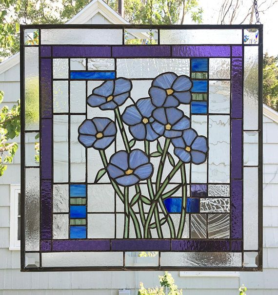 Stained Glass Window Panelforget Me Not Flowers Etsy In 2020 Stained Glass Window Panel Stained Glass Panels Stained Glass Windows