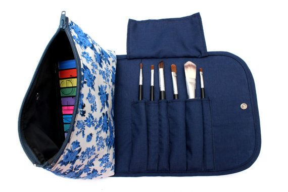 Large Floral Makeup Bag with a Brush Holder Flap and Snap Button