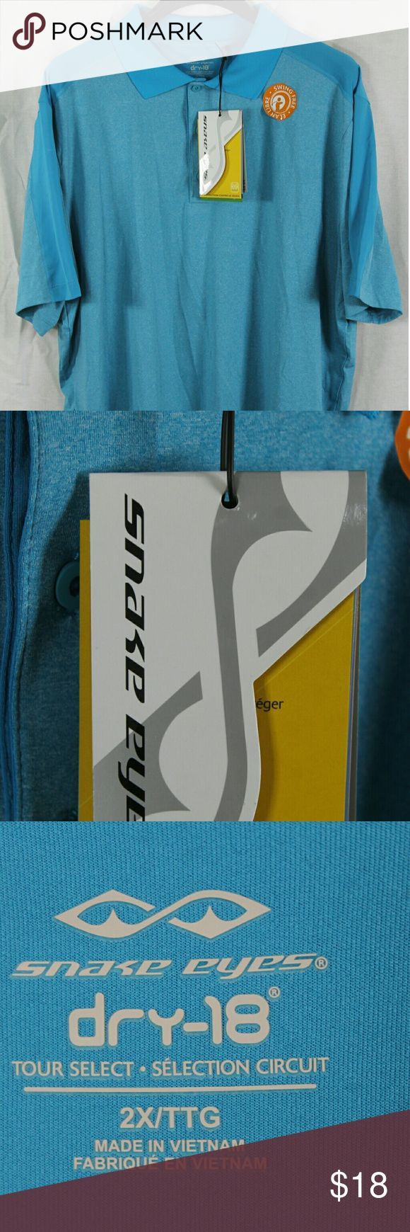 "MENS SNAKE EYES BLUE DRY-18 GOLF POLO SHIRT 2XL NE SIZE:     2XL   ARMPIT - TO - ARMPIT:     24""   LENGTH DOWN BACK:     32""   STYLE:     POLO   MATERIAL:     POLY/SPANDEX   CONDITION:        BRAND NEW WITH TAGS. SOURCED DIRECTLY FROM A NATIONAL UPSCALE U.S. RETAILER. QUALITY AND AUTHENTICITY GUARANTEED! SNAKE EYES Shirts Polos"