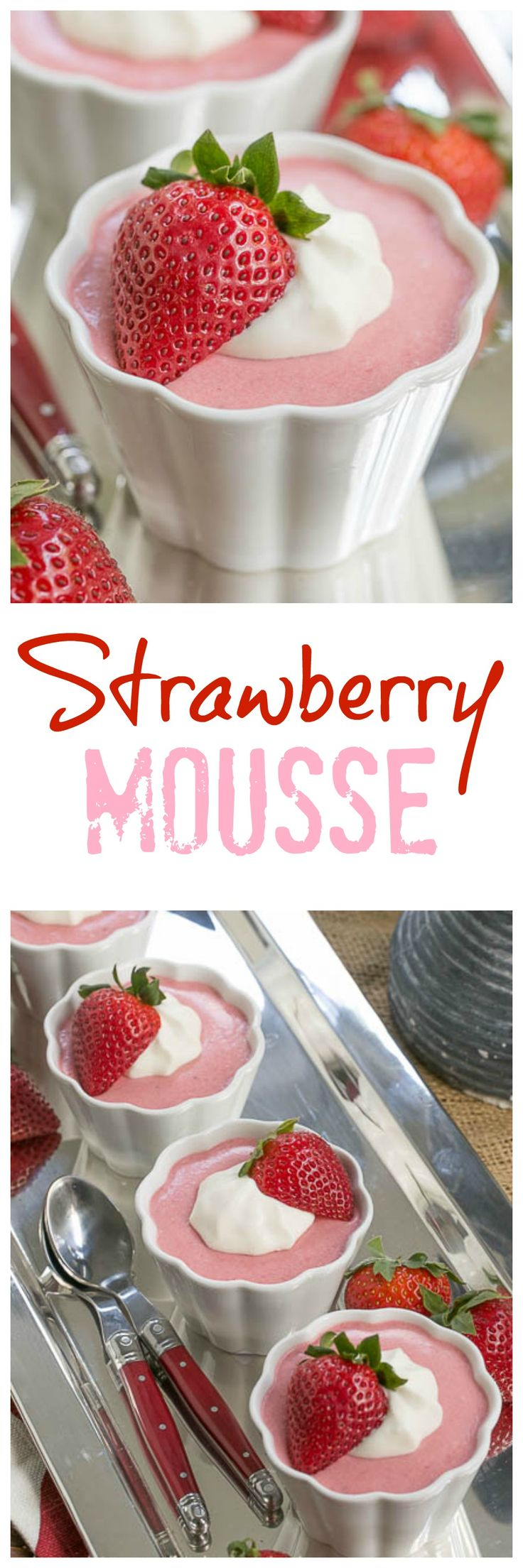 Strawberry Mousse | A sweet. creamy spring time dessert! @lizzydo