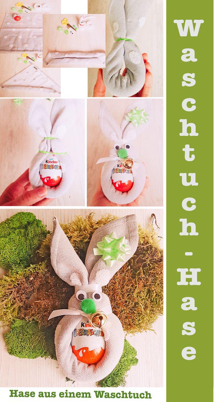 Super Geschenkidee zu Ostern: Osterhasen aus Waschlappen basteln