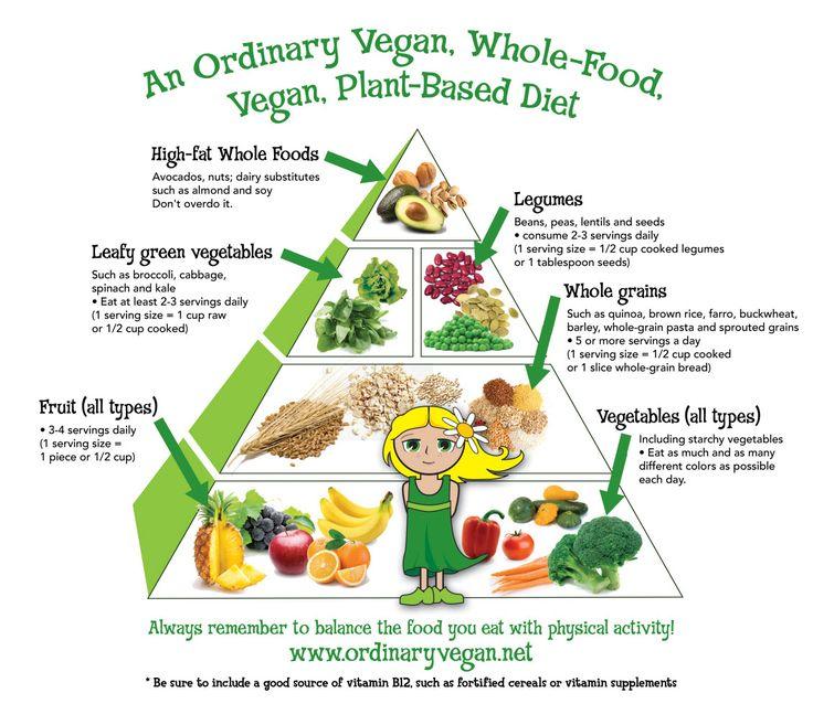 An ordinary vegan, whole food vegan, plant based diet pyramid for optimum health.