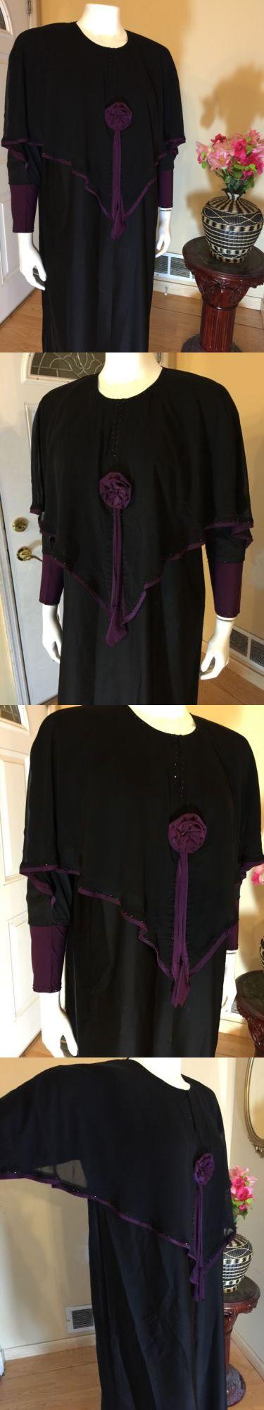 Middle East 155253: Black Khaleeji Saudi Abaya Jilbab With Hijab Size Xl 60 -> BUY IT NOW ONLY: $44.99 on eBay!