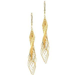 14K Yellow Gold Fancy Twisted Dangle Hanging Earrings for Women The World Jewelry Center. $169.00