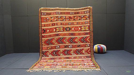 Fabulous moroccan straw wool mat 6x9 African Tuareg Mat