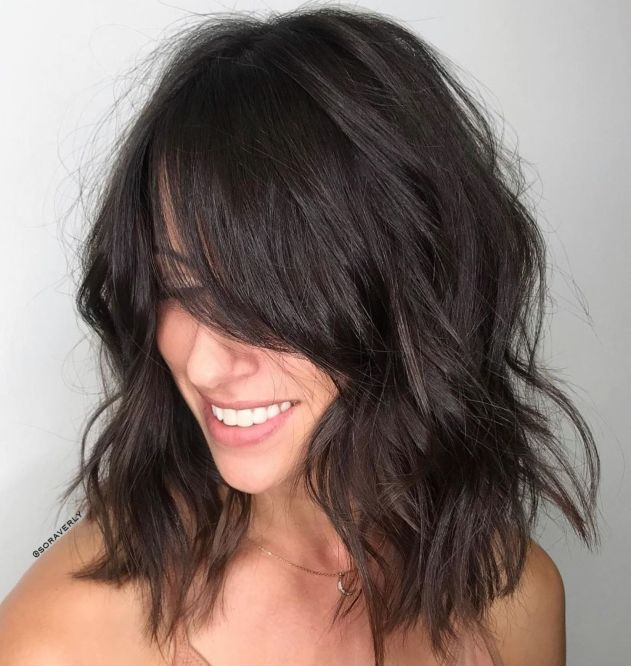 Medium Length Hairstyles For Thick Hair With Side Bangs 5