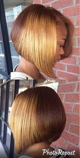 Caramel blonde ombre bob