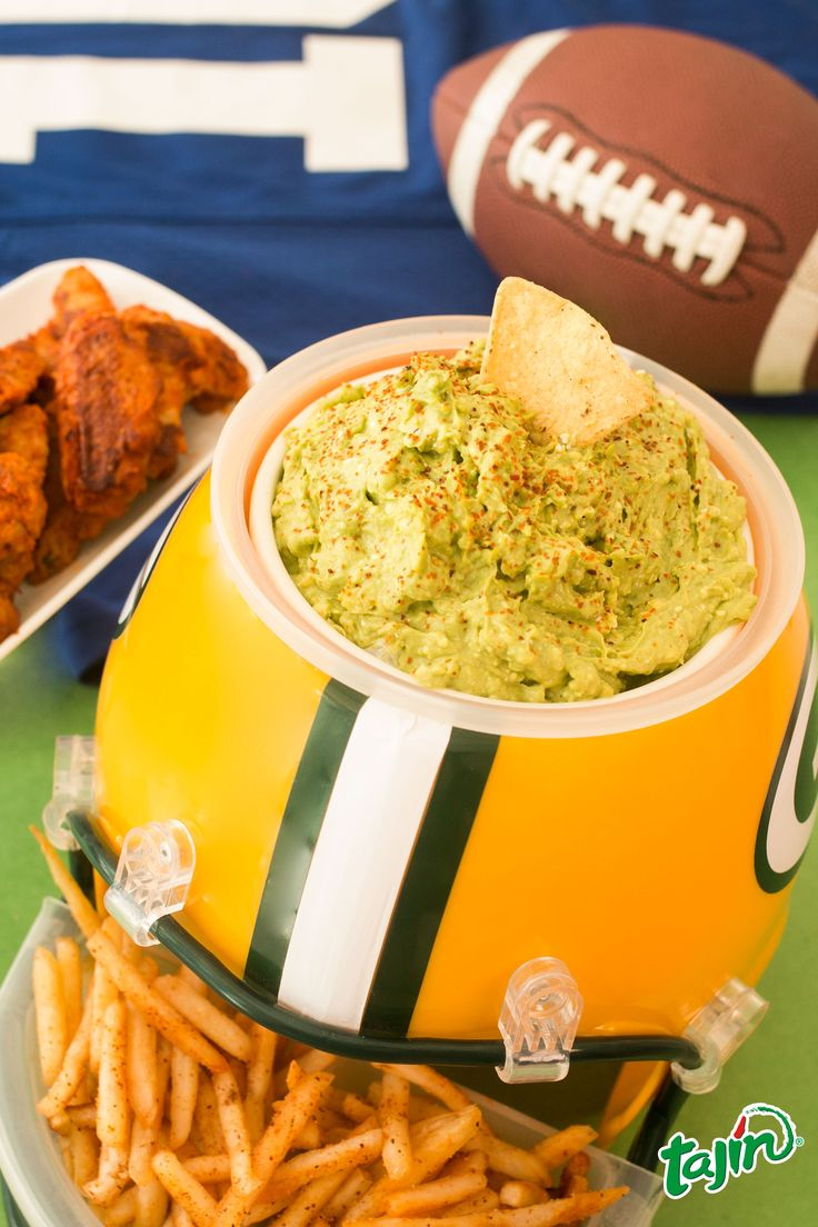 Football themes guacamole with Tajín