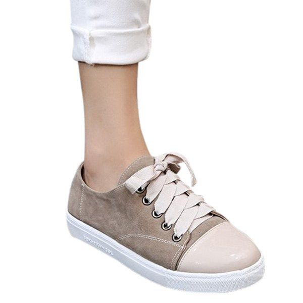 $28.74 Leisure Colour Block and Lace-Up Design Athletic Shoes For Women