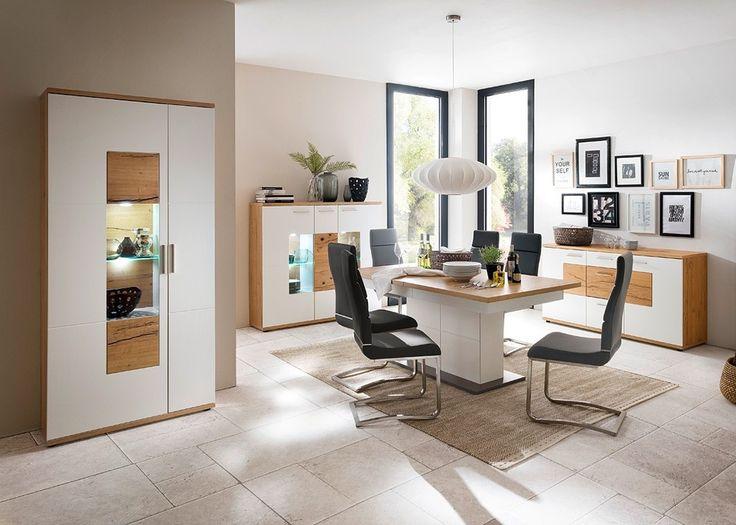 Esszimmer Komplett Nizza Bestehend Aus: Vitrine Highboard Mit Glastür  Highboard Rechts Highboard Links Esstisch 6 Stühle