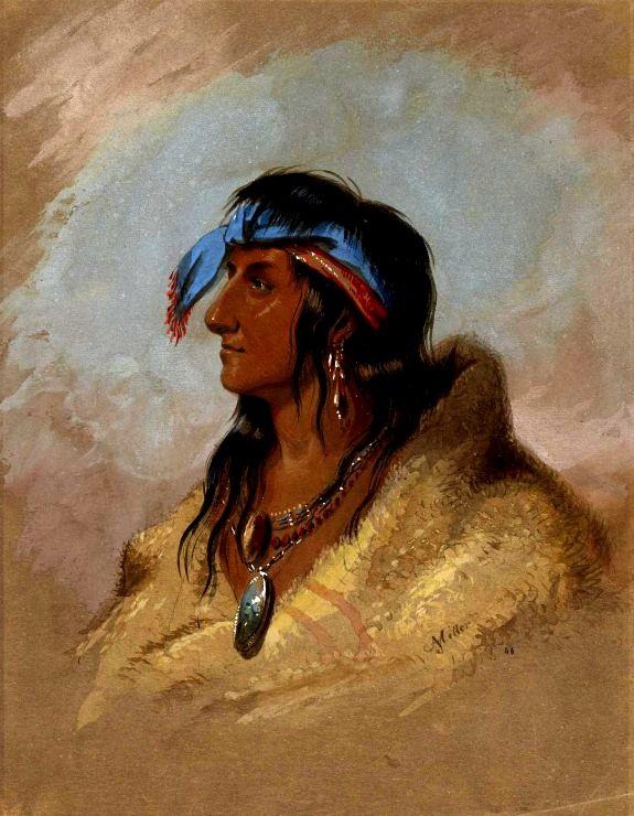 Penna Bianca, capo dei Kansa. Figlio di La Plume Blanche o Monchonsia. by Alfred Jacob Miller kp