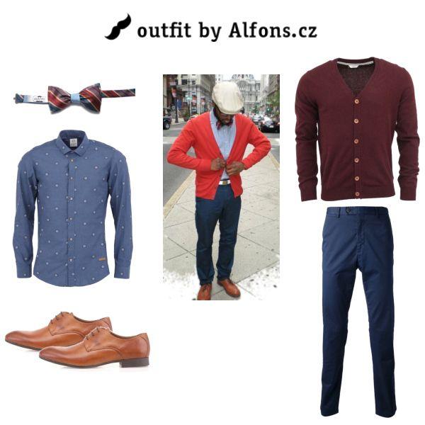 Pánský outfit. Červená/vínová #men #menstyle #menfashion #blazer #suit #bowtie