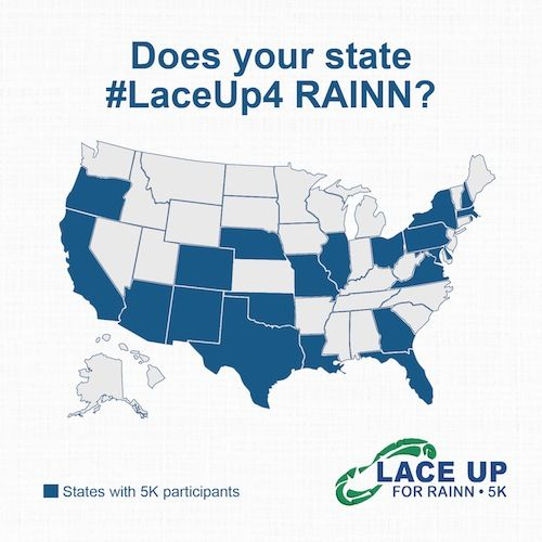 Check the map -- is your state participating in the #laceup4 RAINN #virtual5K?