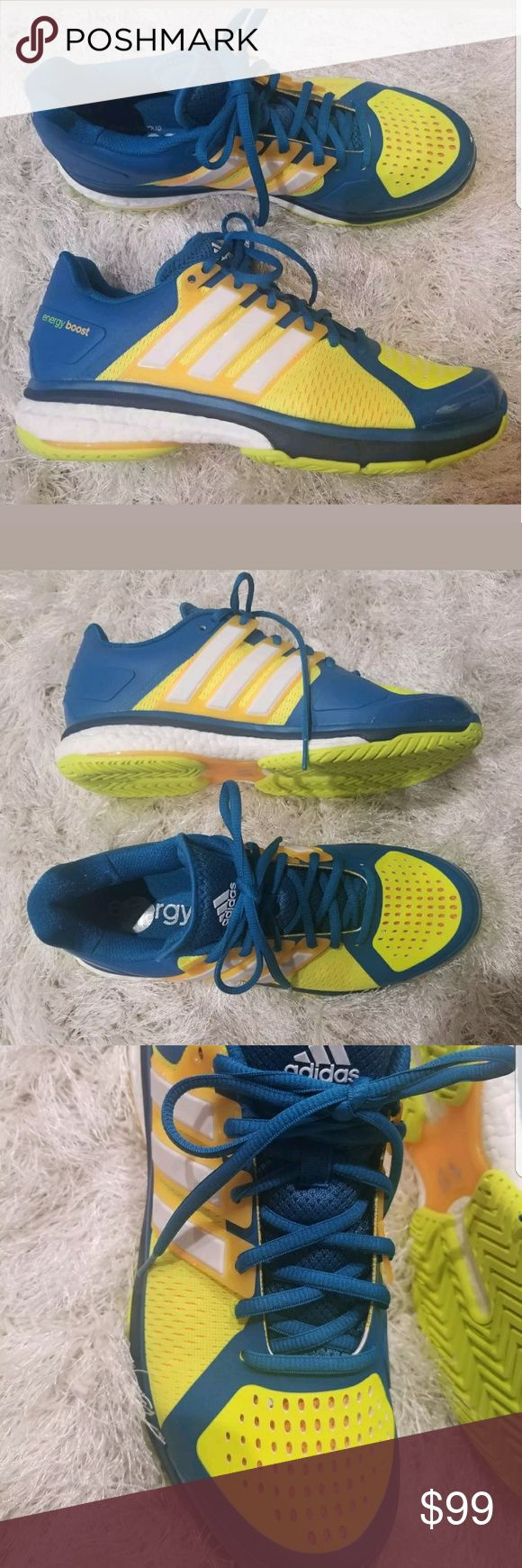 ADIDAS TENNIS SHOES ENERGY BOOST MEN'S YELLOW BLUE ADIDAS TENNIS SHOES ENERGY BOOST MEN'S YELLOW BLUE WHITE AQ2294  Brand new item without box  Size 10  Retail $180  The Tennis Energy Boost combines durable support with reactive cushioning.  All items are shipped with care.  Thanks for looking! Nike Shoes Sneakers