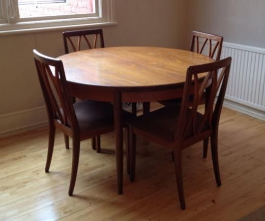 Round Vintage Extendable Dining Table And Four Chairs For Sale In London
