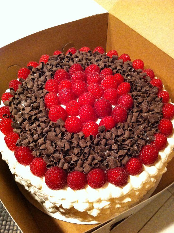 Chocolate cake with bavarian cream and fresh raspberry