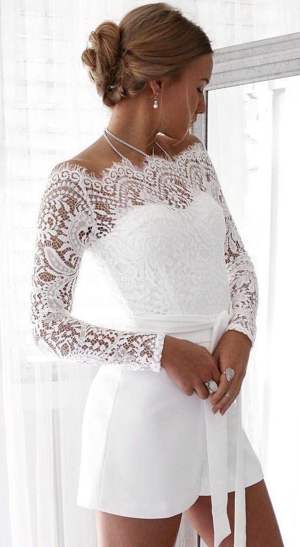 92ad61e0222f summer  outfits White Lace Tatiana Playsuit