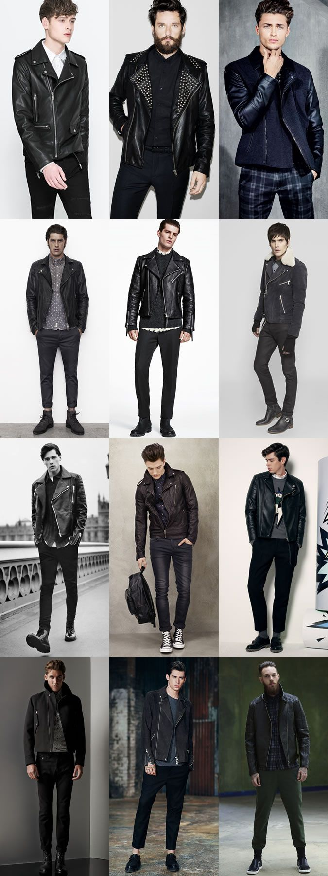 Men's 2014 Autumn/Winter Fashion Trend: Punk-Inspired The Biker Jacket Style Lookbook Inspiration