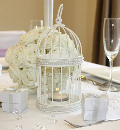 Buy A Decorative Bird Cage Tealight Holder At The Wedding Mall Is Cream And Features Pearl Trim