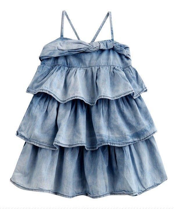 ZARA KIDS BABY GIRLS WASHED DENIM RUFFLE DRESS SKIRT (NEWBORN-TODDLER) 3-18 mth #ZARA #DressyEverydayHoliday