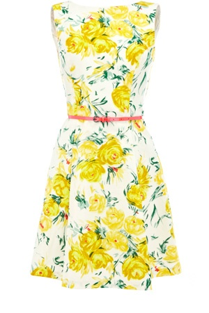 From Oasis-stores.com  ... This full skirted dress has a high neckline and a cross over detail to the back with an all over floral print.: Fashion, Rose Dress, Style, Clothes, Dream Closet, Dresses, Yellow Roses, Vintage Roses, Floral